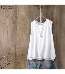 zanzea mujeres sin mangas summer tank tops casual cami blusa camisa camisole plus -blanco