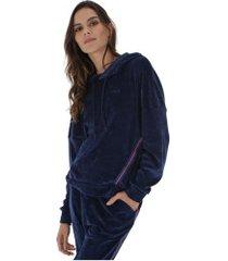blusão com capuz fila plush taped - feminino - azul escuro