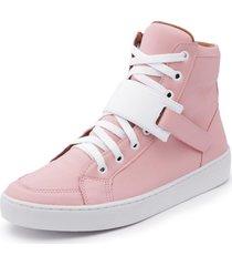 sapatênis cano alto top franca shoes rosa / branco