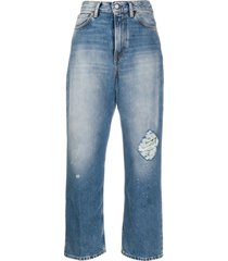acne studios 1993 destroyed cropped jeans - blue
