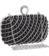 bolsa clutch liage bordada pedra pérola cristal pedraria strass brilho metal prata e preta - tricae