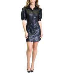 kit & sky faux-leather puff-sleeve fit & flare dress
