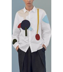 incerun hombres casual color block parcheado personalidad manga larga camisa