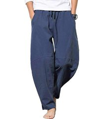 pantalones de harén sueltos de lino y algodón de verano para hombres