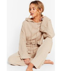 womens take the easy option sweater and pant lounge set - oatmeal