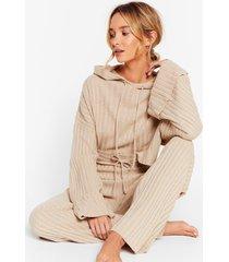 womens take the easy option hoodie and pants lounge set - oatmeal