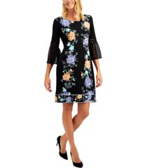 jm collection petite printed bell-sleeve dress, created for macy's