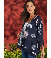 yoins kimono azul marino con ribete de encaje y estampado floral al azar