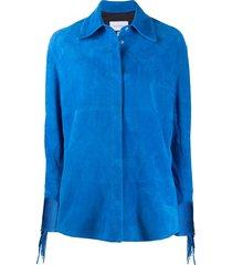mira mikati beaded fringed detail jacket - blue