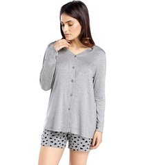 pijama curto aberto com manga longa all day