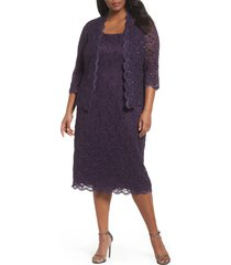 plus size women's alex evenings lace cocktail dress with jacket, size 14w - purple