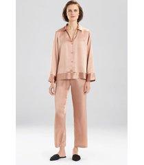 key essentials notch collar pajamas, women's, red, 100% silk, size l, josie natori