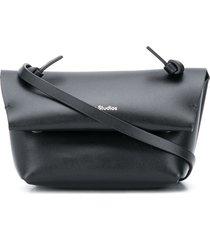 acne studios logo-print mini purse - black