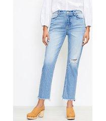 loft curvy frayed high rise straight crop jeans in staple dark indigo wash