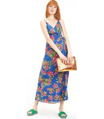 tommy hilfiger women's floral wrap dress tropical blue - 6