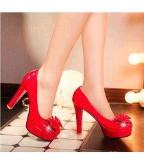 pp391 sweet bowtie block heel pumps, us size 4-10, red
