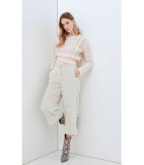 motivi maglia misto lana con pompon donna rosa