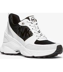 mk sneaker mickey in pelle e satin - nero/bianco (nero) - michael kors