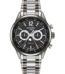 roamer men's 3 hands moonphase 43 mm dress watch in two tone steel case and bracelet