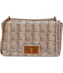 sam edelman women's tessa snake-embossed leather crossbody bag - sesame
