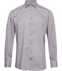beige micro flower shirt overhemd business multi/patroon eton