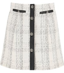 salvatore ferragamo tartan tweed and leather mini skirt