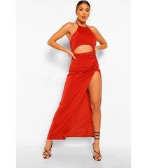 getextureerde, nauwsluitende maxi-jurk met uitgesneden ruches, terracotta