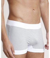 cueca boxer masculina sem costura listrada branca