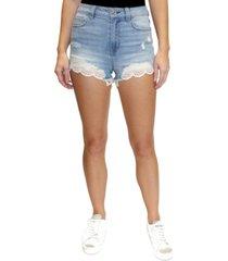 almost famous juniors' lace-hem denim shorts