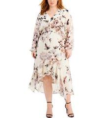 taylor plus size gathered-waist midi dress