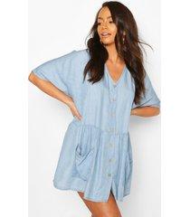 chambray button front pocket smock dress, light blue