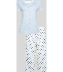 pijama feminino com botões e renda manga curta cinza mescla claro