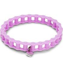 white rhodium plated logo charm & rubber bracelet