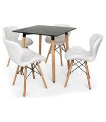 kit mesa jantar eiffel 80x80 preta + 04 cadeiras slim - branca