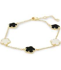 jan-kou women's flower 14k goldplated, mother of pearl & onyx bracelet