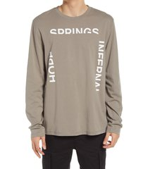 men's allsaints infernal long sleeve graphic tee, size xx-large - brown