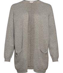 carst l/s long cardigan ess stickad tröja cardigan grå only carmakoma