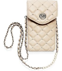 badgley mischka women's quilted faux leather & faux pearl phone case - off white