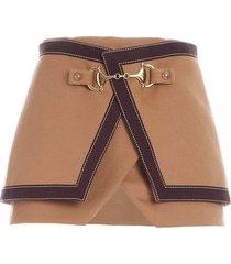 balmain golden details skirt in brown