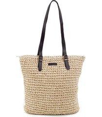 beżowa pleciona torba plażowa