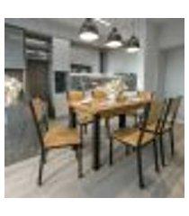 conjunto de mesa de jantar lizzi com 6 cadeiras madeira e preto