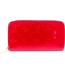 louis vuitton zippy red monogram vernis leather wallet red/monogram sz: