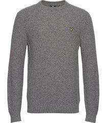 basket weave knitted jumper stickad tröja m. rund krage grå lyle & scott