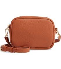 bp. pebbled faux leather crossbody bag - brown