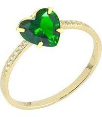 anel solitário coração zircônia esmeralda banhado 18k lys lazuli feminino - feminino