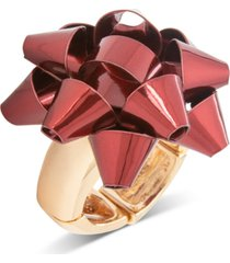 holiday lane gold bow statement stretch ring, created for macy's