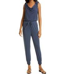 women's cinq a sept shawn tie shoulder jersey jumpsuit, size x-large - blue