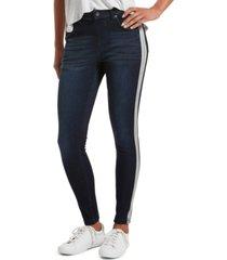 hue women's bleached tuxedo stripe ultra soft denim high-waist leggings