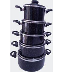 jogo panela alumãnio colorido preto jogo com 5 peã§as - multicolorido - dafiti