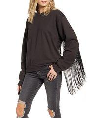 women's levi's ashley fringe trim cotton sweatshirt, size medium - black